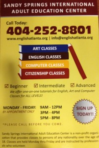 Sandy Springs International Adult Education Center Flyer